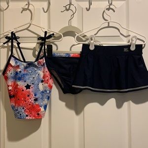 Girls Red White & Blue 3 pc Swimsuit Set